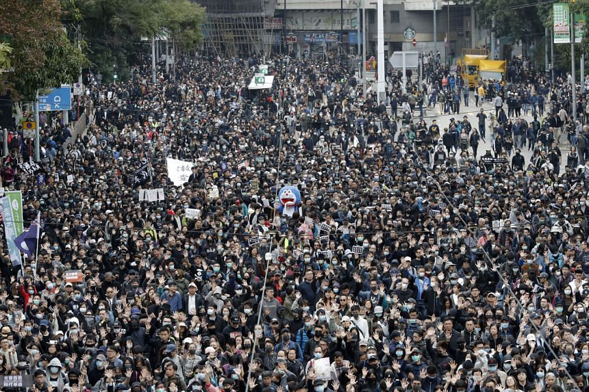 Protesters marching in Hong Kong on Jan 1, 2020.