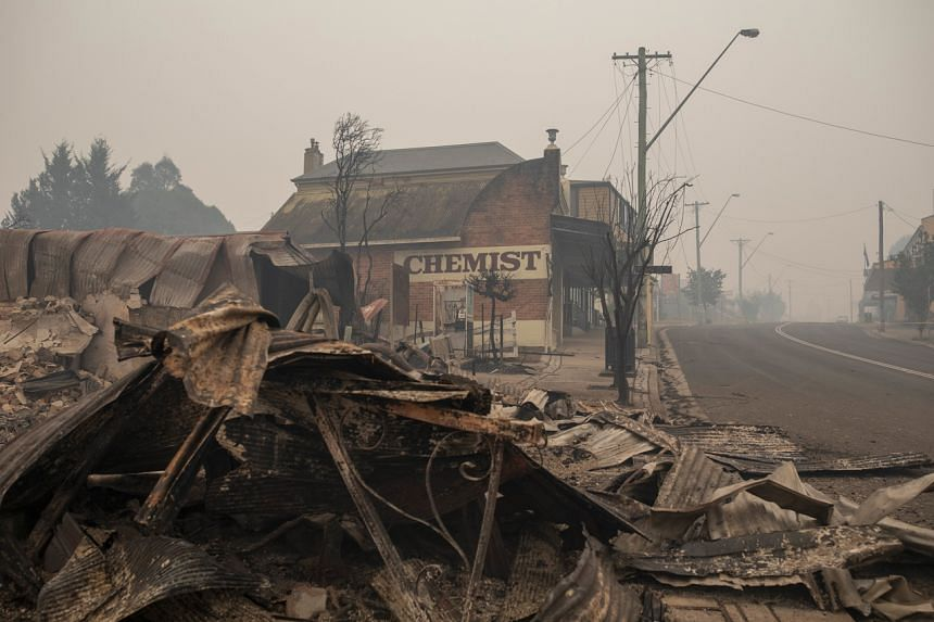 The rubble of buildings sits on the ground after they were destroyed by fire in Australia on Jan 1, 2020.