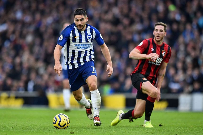 Brighton's French striker Neal Maupay (left) controls the ball in England on Dec 28, 2019.