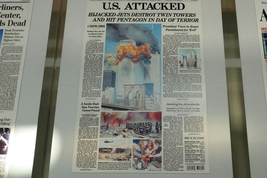 Front pages at the Newseum in Washington.
