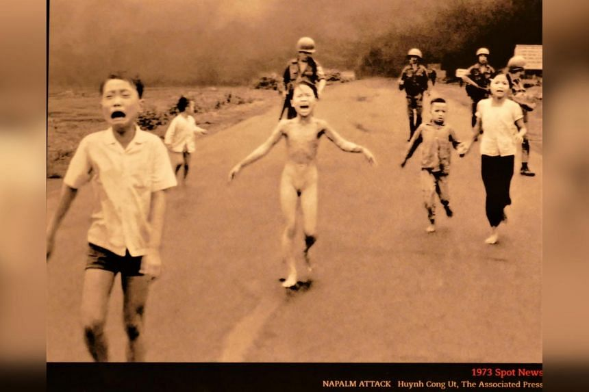 Pulitzer winning pictures - Napalm Attack, Vietnam, 1973, panel at the Newseum in Washington.