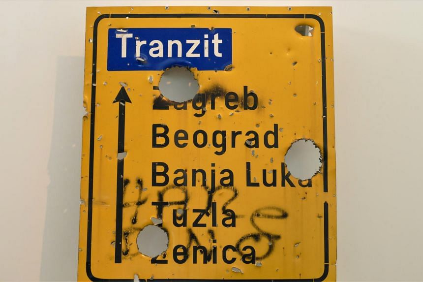 Road sign from Sarajevo, at the Newseum in Washington.