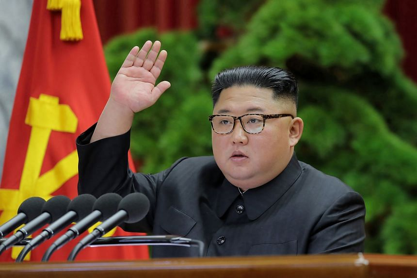 State television showed a lengthy readout of North Korean leader Kim Jong Un's address at a four-day party meeting.