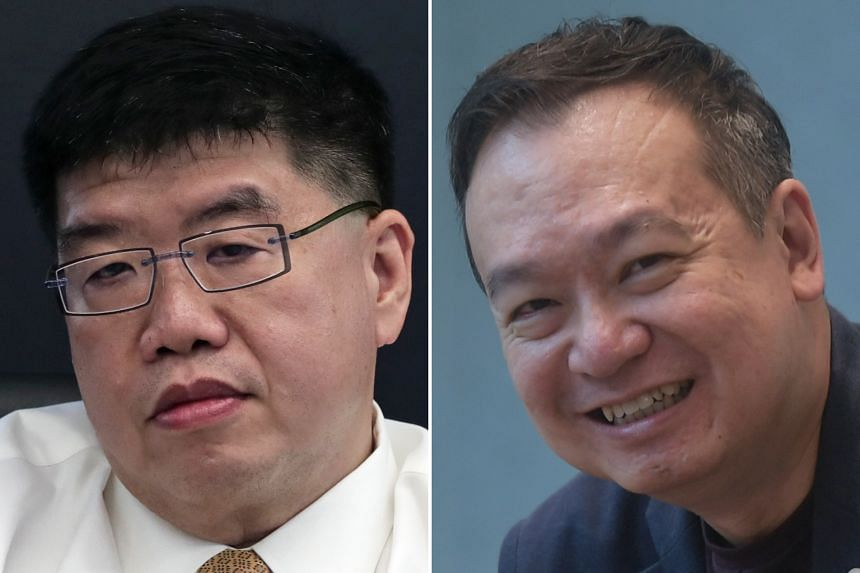 Dr Wong Chiang Yin (top) will be Thomson Medical Group's new chief executive from Feb 1, taking over from Mr Roy Quek (above), who quit as CEO in September.