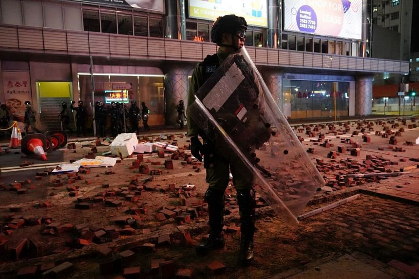 A street laid with bricks by protesters in Hong Kong on Jan 1, 2020.
