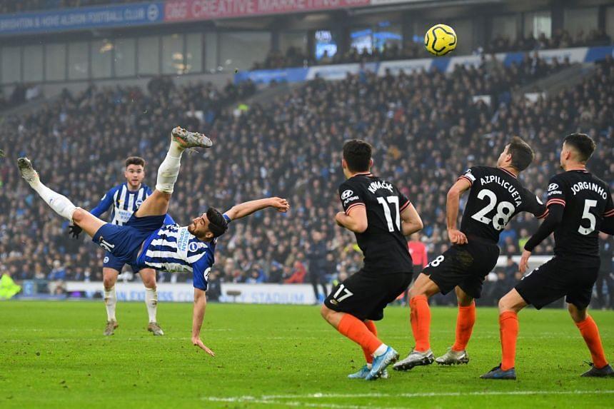 Brighton's Iranian forward Alireza Jahanbakhsh scored with a brilliant bicycle kick in the second half.