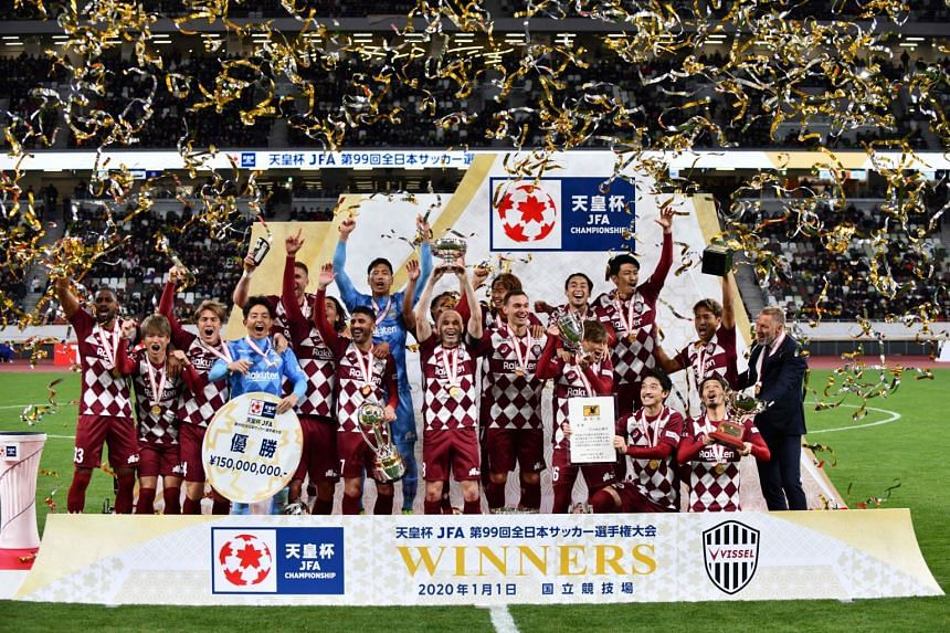 Vissel Kobe players celebrate winning the Emperor's Cup at the new National Stadium in Tokyo on Jan 1, 2020.