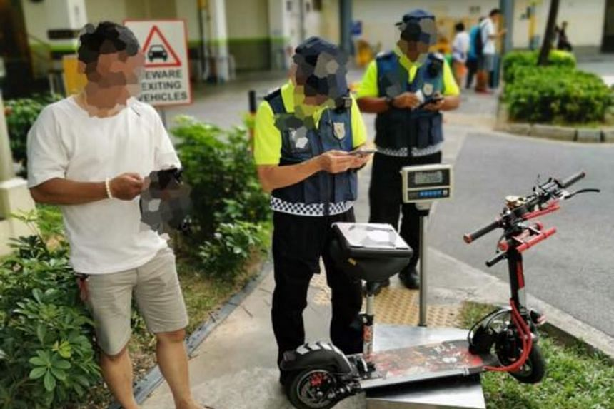 An errant e-scooter user was caught flouting the rules in Yishun.