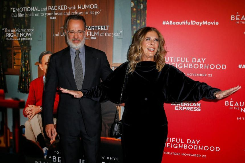 A photo taken on Nov 17, 2019, shows Tom Hanks and his wife Rita Wilson at the New York screening of A Beautiful Day In The Neighborhood.