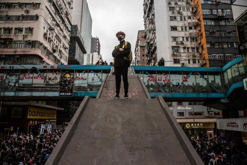 Protesters march in Hong Kong on Jan 1, 2020.