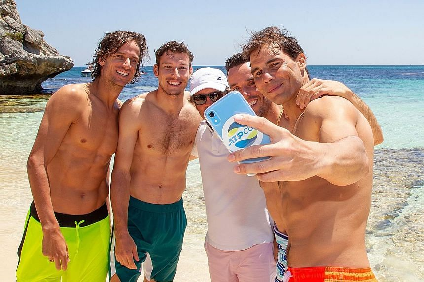 World No. 1 Rafael Nadal taking a wefie with his Spain teammates (from left) Feliciano Lopez, Pablo Carreno Busta, captain Francisco Roig and Roberto Bautista Agut. They were at a beach on Rottnest Island, off the coast of Perth, ahead of the men's t