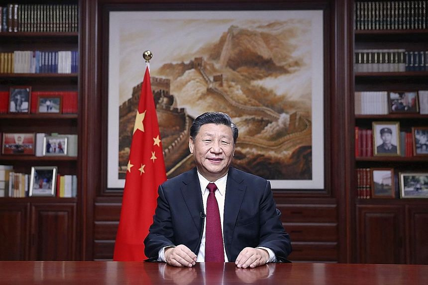 Chinese President Xi Jinping, in his New Year's address, said he sincerely wished Hong Kong well. PHOTO: ASSOCIATED PRESS