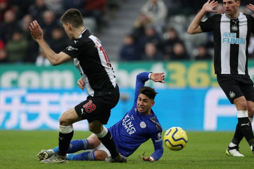 Leicester City's Ayoze Perez scores their first goal during the EPL match against Newcastle on Jan 1, 2020.