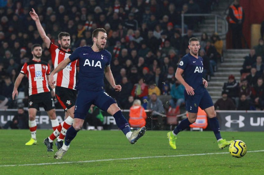Tottenham Hotspur's Harry Kane sustains an injury as he scores a goal that is later disallowed for offside during the EPL match against Southampton on Jan 1, 2020.