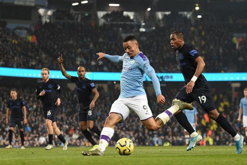 Manchester City striker Gabriel Jesus has a shot on goal during the English Premier League football match against Everton on Jan 1, 2020.