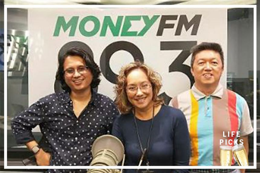Money FM's Claressa Monteiro (centre) chats with ST music correspondent Eddino Abdul Hadi (left) and ST food critic Wong Ah Yoke (right) to share their picks for the week.