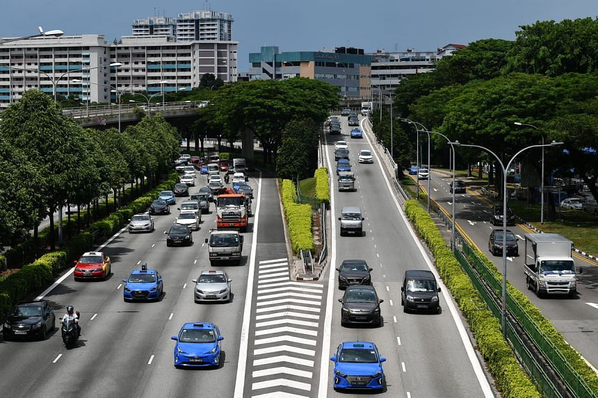 Vehicles travelling on the Pan-Island Expressway (PIE).