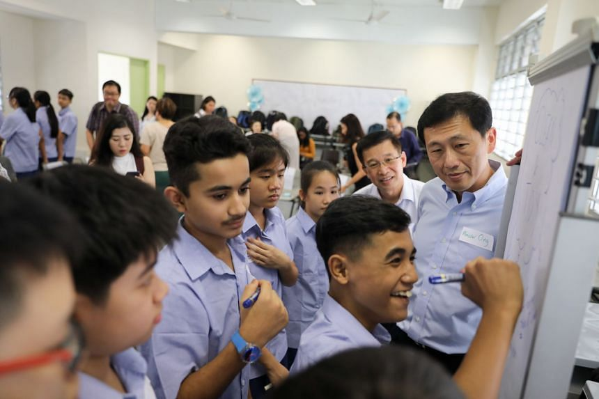 Education Minister Ong Ye Kung visited Ping Yi Secondary School, one of 28 schools from this year to pilot full subject-based banding on Jan 2, 2020.