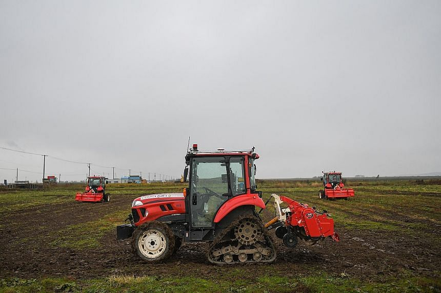 Top: Robotic tractors in Hokkaido, as Japan looks to outsource some jobs to machines. Left: A robot picking up an artificial potato at a Sapporo research facility in Hokkaido.
