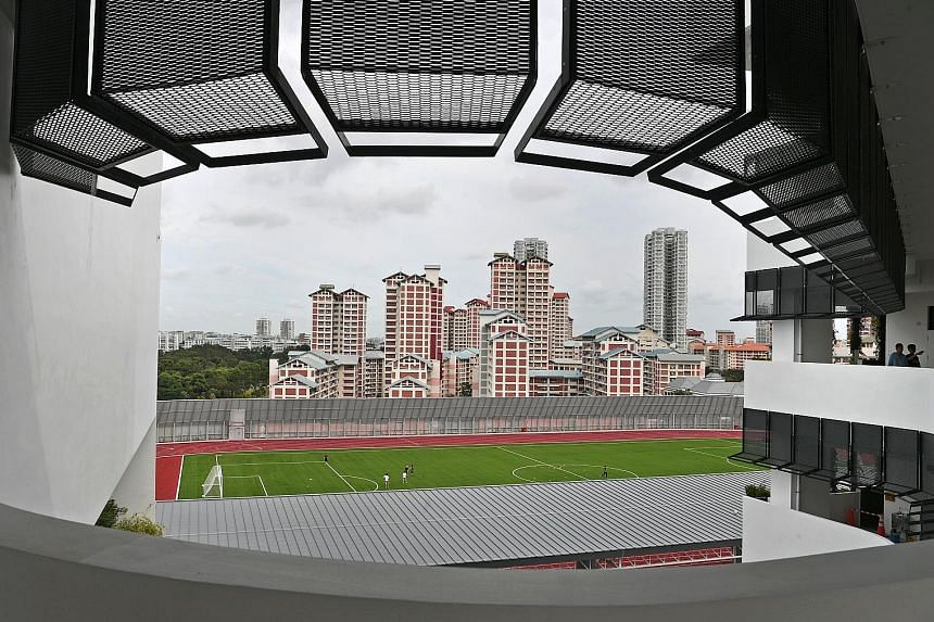The location of the field and eight-lane track - on the rooftop of the student activity block - makes this one of the unique features of the junior college's new campus. A 900-seat lecture theatre within the student activity block, which also has per