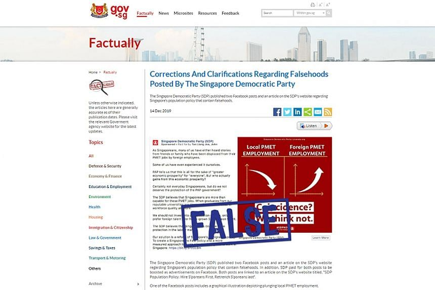 The Singapore Democratic Party was last month ordered to put up correction notes alongside two Facebook posts and an article, and to link to the facts provided on the Government's fact-checking website Factually (above).