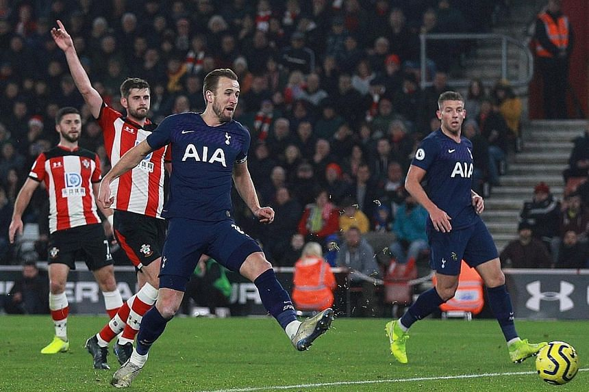 Tottenham striker Harry Kane scoring a goal against Southampton that was later disallowed for offside. Immediately afterwards, he pulled up and asked to be substituted with a suspected hamstring injury. The Saints held on for a 1-0 Premier League vic