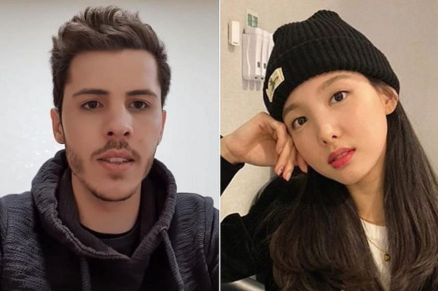 German national Josh (left) was on the same flight as Twice on Wednesday. The girl group, who included Nayeon (right), were flying back to Seoul from Japan after filming a special.