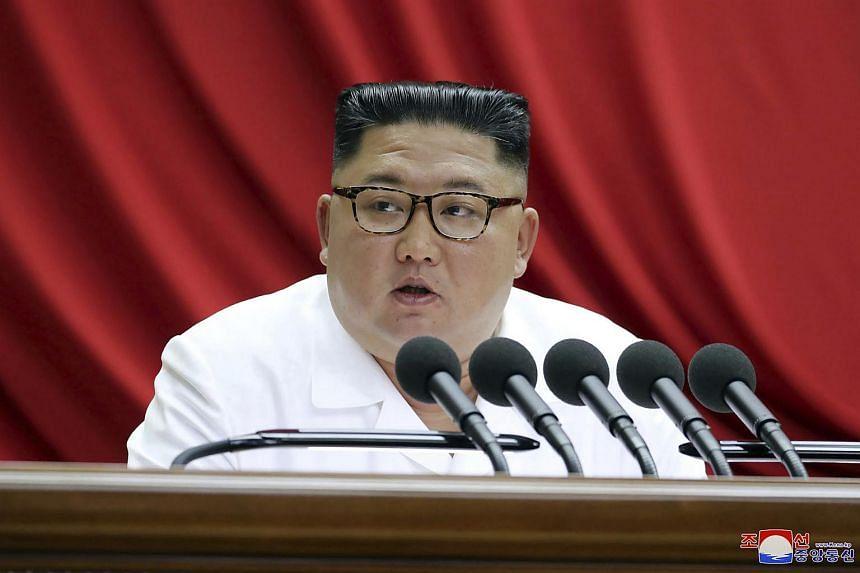 North Korean leader Kim Jong Un speaks during a Workers' Party meeting in Pyongyang, North Korea, on Dec 31, 2018.