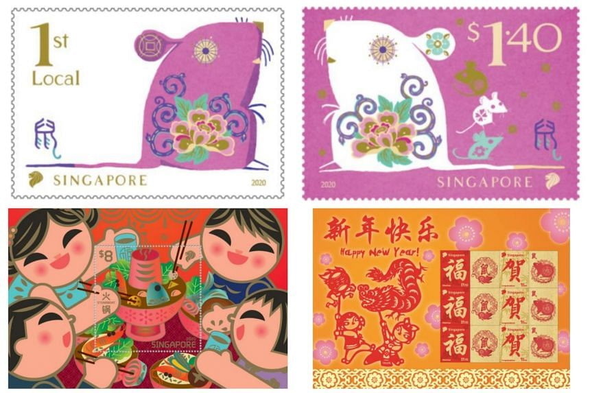 (Clockwise from top left) Rat-themed stamps, Chinese New Year Rat MyStamp sheet and Chinese New Year Reunion Stamp Miniature Sheet can all be purchased by the public on Jan 8, 2020.