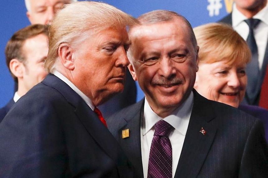In a photo taken on Dec 4, 2019, US President Donald Trump (left) and Turkey's President Recep Tayyip Erdogan pictured at the Nato summit in the UK.