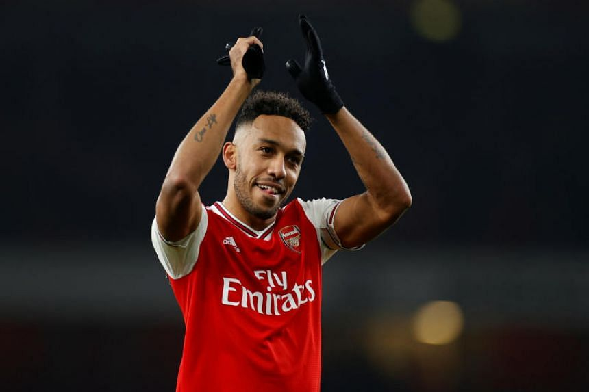 Arsenal's Pierre-Emerick Aubameyang celebrates after the football match against Manchester United on Jan 1, 2020.