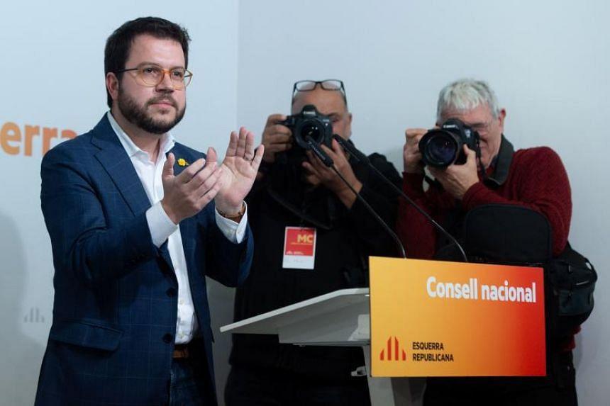 Vice-President of Catalan Government Pere Aragones at an Esquerra Republicana de Catalunya meeting in Barcelona on Jan 2, 2020.