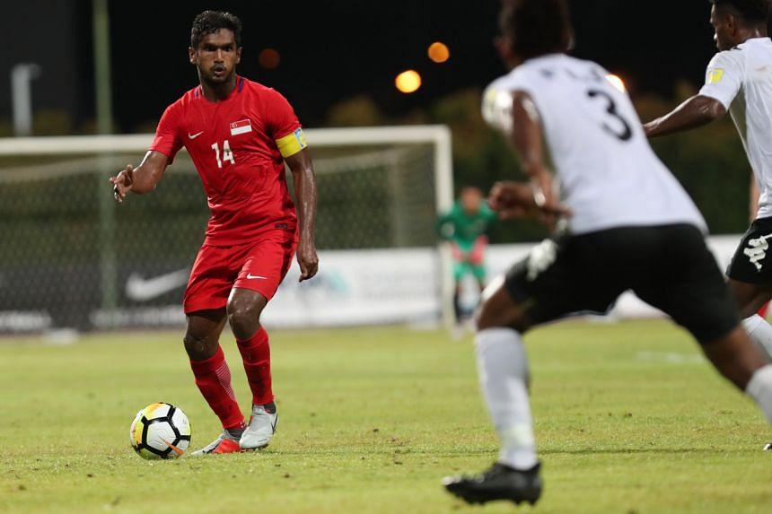 Singapore footballer Hariss Harun in action against Fiji in 2018.