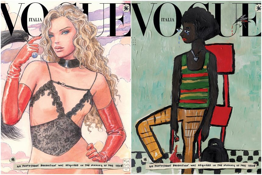 The issue comes packaged in eight different covers, each depicting a model wearing Gucci, though the covers vary in style from collage painting to Japanese fantasy-meets-Italian renaissance.