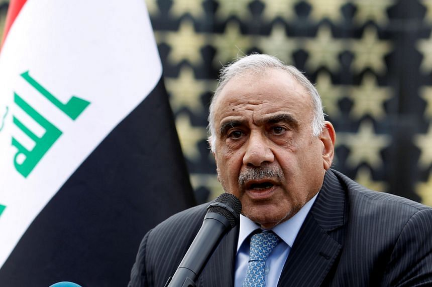 In a photo taken on Oct 23, 2019, Iraqi Prime Minister Adel Abdul Mahdi speaks during a ceremony in Baghdad, Iraq.