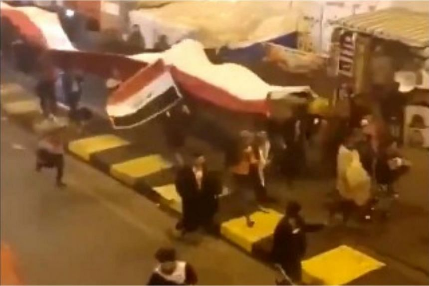 A video posted on Twitter by US Secretary of State Mike Pompeo shows footage of scores of people running along a road and waving what appeared to be Iraqi flags and other banners.