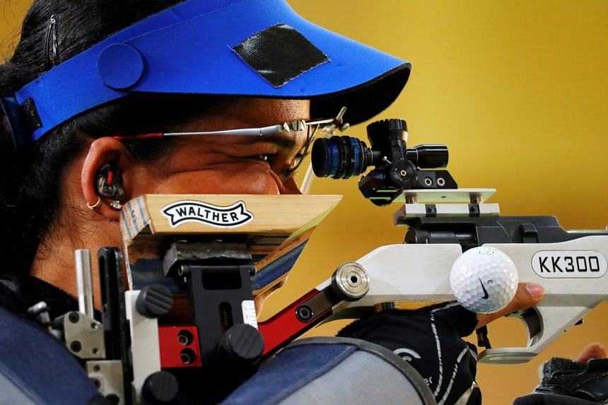 A photo taken on April 13, 2018, shows India's Tejaswini Sawant during the Commonwealth Games women's 50m rifle 3 Positions final in Brisbane.