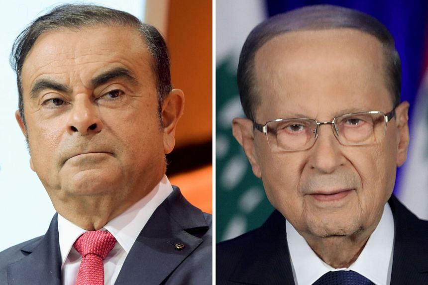 Several media outlets reported that Carlos Ghosn (top) was welcomed home by Lebanese President Michel Aoun (above) on Tuesday, but a senior Lebanese presidency official yesterday denied the two men had met.