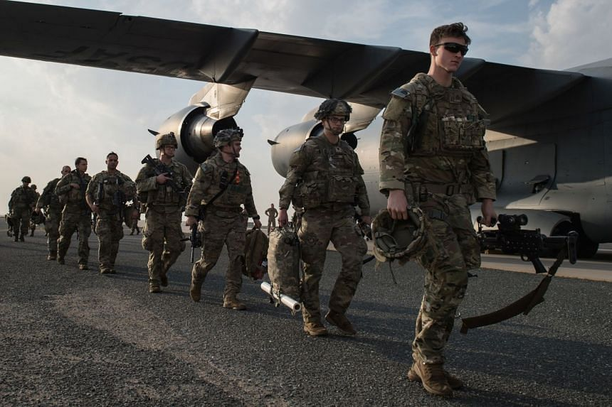 US Army paratroopers from the 82nd Airborne Division arrive at Ali Al Salem Air Base, Kuwait, Jan 2, 2020.