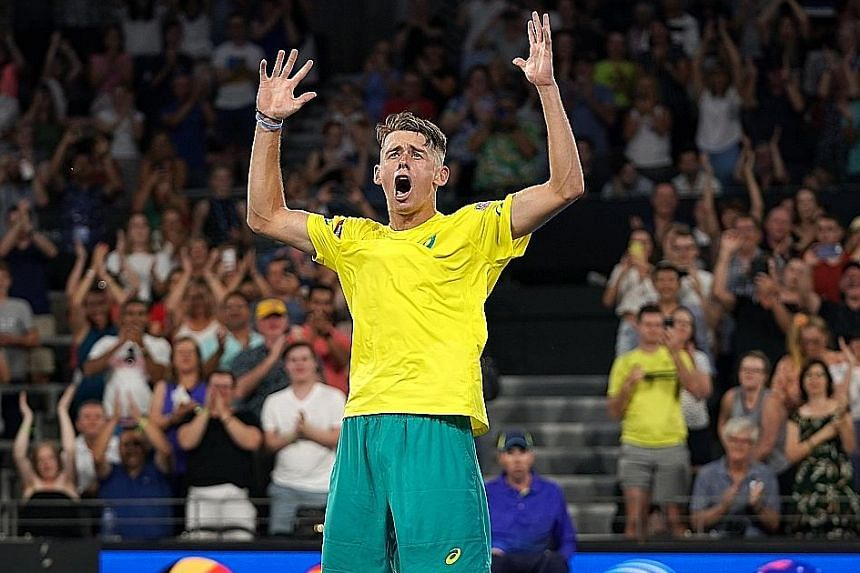 Australia's Alex de Minaur after beating Germany's Alexander Zverev to give his country an unassailable 2-0 lead.