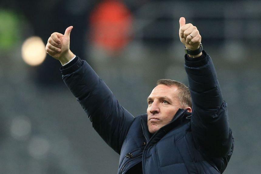 Rodgers waves to fans after Leicester's win against Newcastle United on Jan 1, 2019.