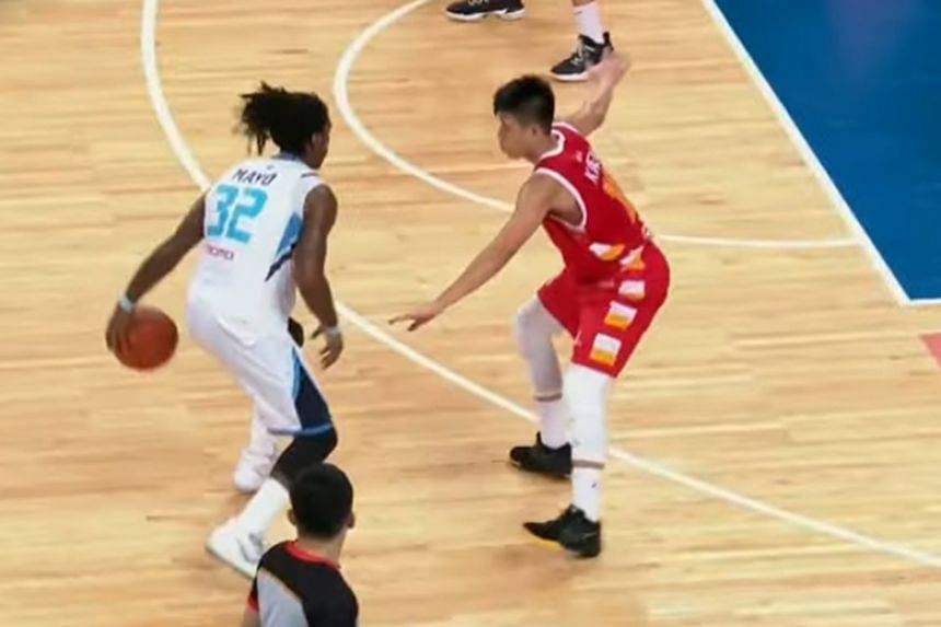 The Fubon Braves' OJ Mayo in action during the Asean Basketball League game against the Singapore Slingers at the Taipei Heping Basketball Gymnasium.