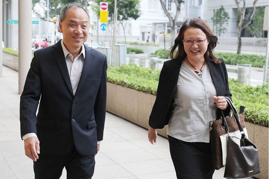 Former Workers' Party (WP) chief Low Thia Khiang and WP chairman Sylvia Lim outside the Supreme Court on Oct 16, 2018.
