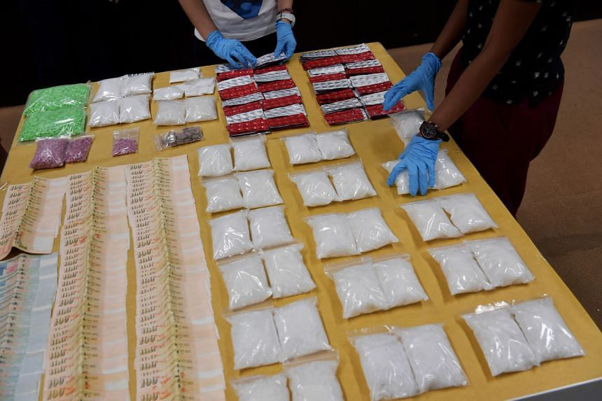 Some of the drugs seized by the Central Narcotics Bureau, on display at its headquarters.