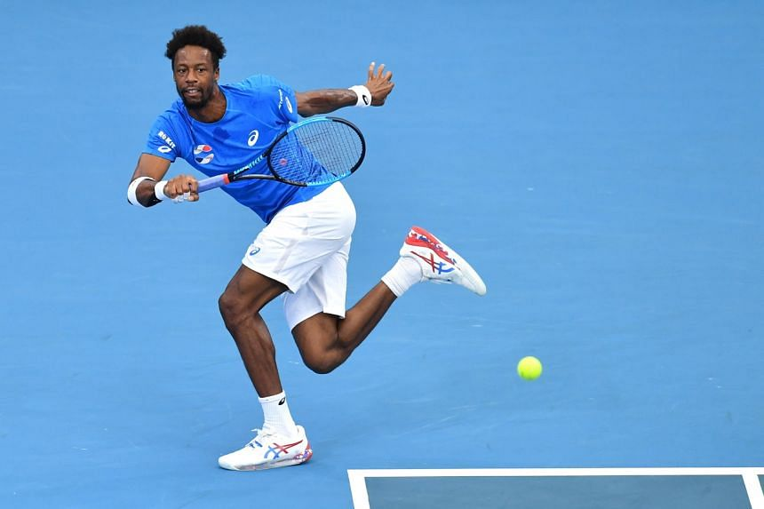 France's Gael Monfils in action against Chile's Cristian Garin during day two of the ATP Cup in Brisbane on Jan 4, 2020.