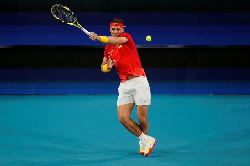 Rafael Nadal in action during his ATP Cup match against Nikoloz Basilashvili in Perth, Australia, on Jan 4, 2020.