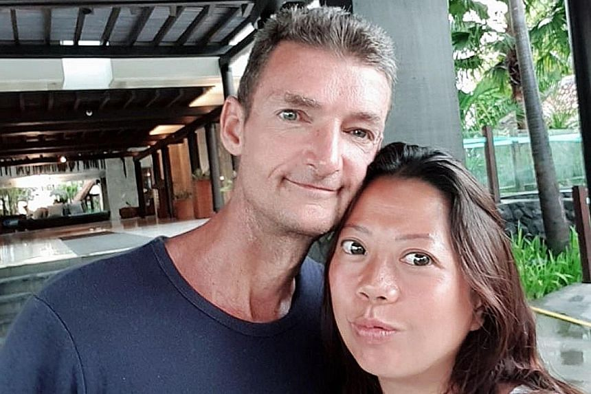 Left: Paul Leslie Quirk was arrested on Friday at Esparina Residences condo in Compassvale Bow. Above: Quirk, 48, and his wife Christina Khoo, 43, in happier times. PHOTOS: WONG KWAI CHOW, PAUL QUIRK_CHRISTINA QUIRK/FACEBOOK