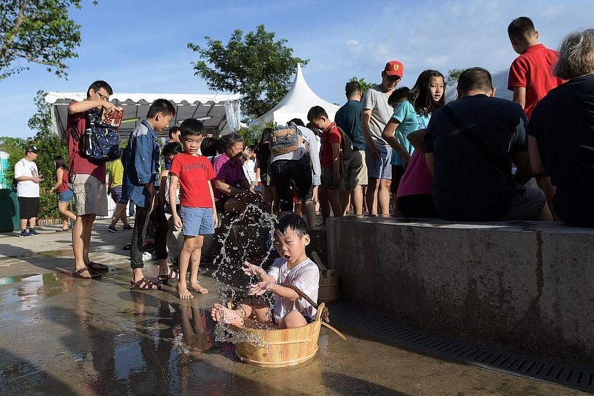The spring water is hot enough to boil eggs, and park visitors can have a go at the water collection point. A visitor filling a tub at the water collection point, which features a specially designed tap for people with disabilities. Wheelchair-friend