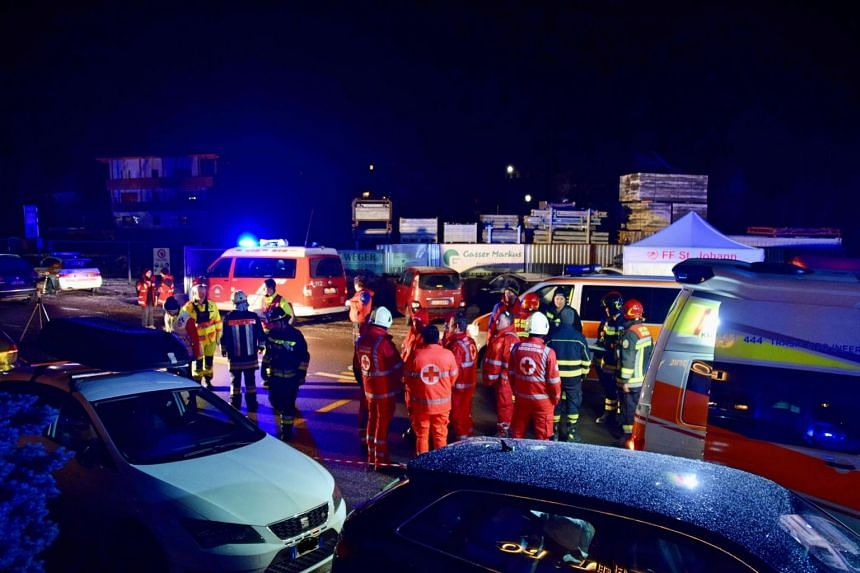 Emergency services personnel at the site of an accident where six German tourists were killed, in Luttach, South Tyrol, Italy, on Jan 5, 2020.