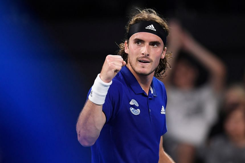 Stefanos Tsitsipas celebrating during his match against Alexander Zverev during their ATP Cup match in Brisbane, Australia, on Jan 5, 2020.